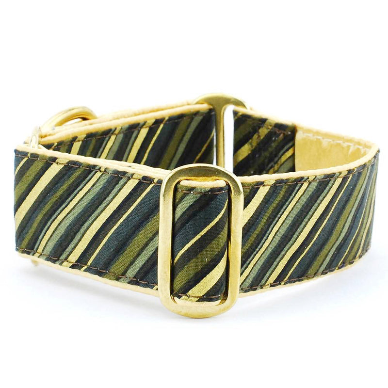 Dapper Mossy Green Brown Stripes Satin Designer Luxury Handmade Dog Collar