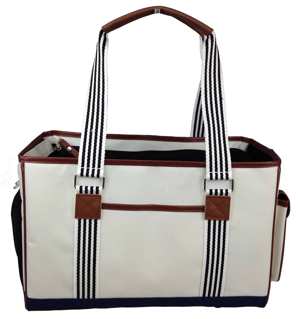 Yacht Polo Nautical Inspired Over-The-Shoulder Designer Travel Fashion Pet Cat & Dog Carrier Purse Bag
