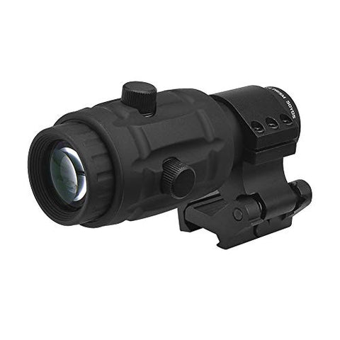 Beileshi 4X Optics Sight Magnifier with Flip to Side Mount W/E Adjustable