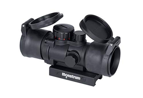 Monstrum S330P 3X Prism Scope | Black with Flip-Up Lens Covers