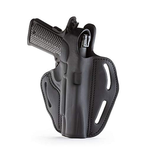 "1791 GUNLEATHER 1911 Holster - Thumb Break Leather Holster - Cocked and Locked Carry - Right Hand OWB Holster for Belts - Fit 4"" and 5"" Barrels Stealth Black"