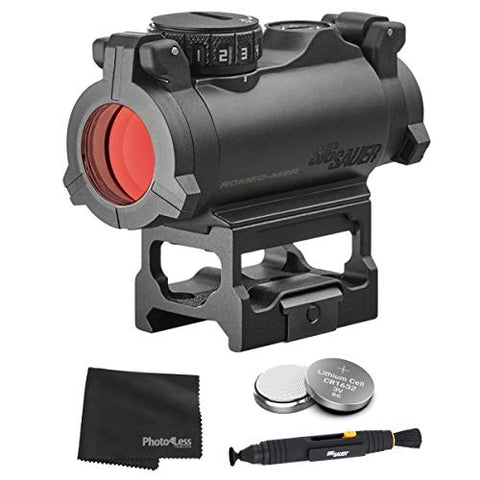 Sig Sauer Romeo-MSR Sealed Compact Dot Sight + 2 Additional Batteries and Lens Cleaning Kit (Green Dot)