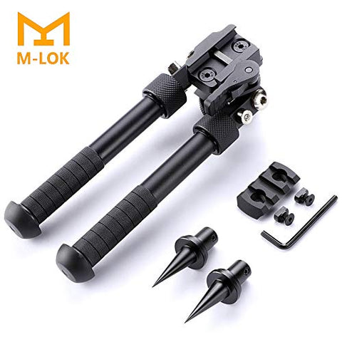 Sawke Mlok Bipod for Rifles - 6.5-9 Inch Tactical Rifle Bipod Adjustable,CNC QD Lever Mount,360 Degree Swivel Adapter with Bipod Spikes and Mlok Picatinny Rail Mount