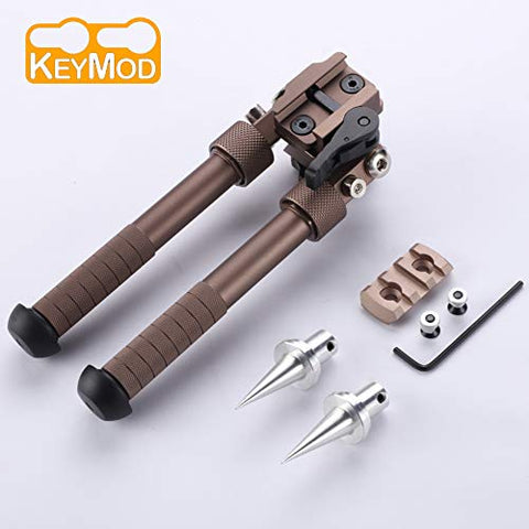 Sawke Keymod Bipod for Rifles - 6.5-9 Inch Tactical Rifle Bipod Adjustable,CNC QD Lever Mount,360 Degree Swivel Adapter with Bipod Spikes and Keymod Picatinny Rail Mount (Brown)