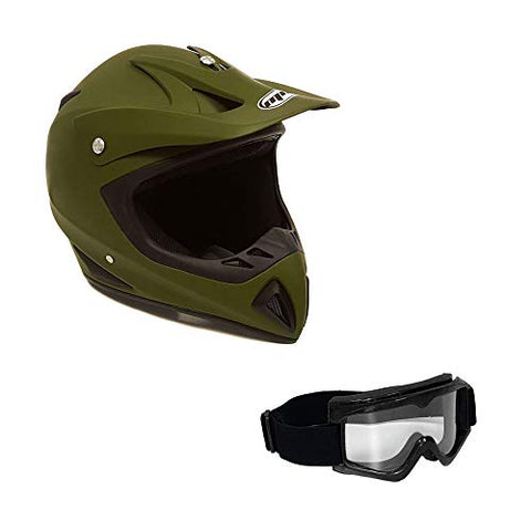 Adult Motorcycle Off Road Helmet DOT - MX ATV Dirt Bike Motocross UTV (XXL, Military Green). Includes Goggles