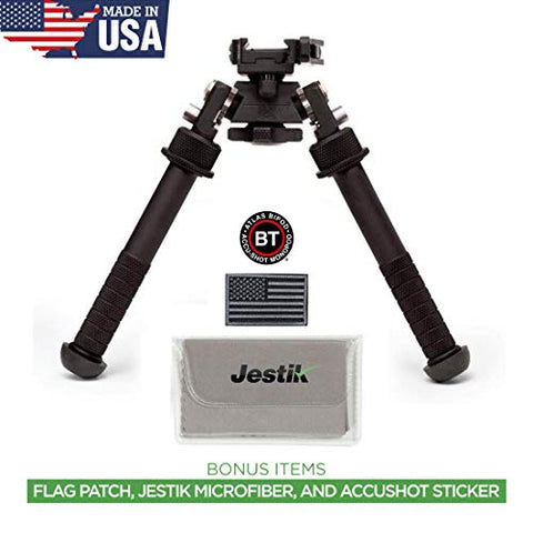 Accu-Shot Atlas Bipod BT46-LW17 PSR with ADM 170-S Lever Plus USA Flag Patch and Jestik Microfiber Cleaning Cloth