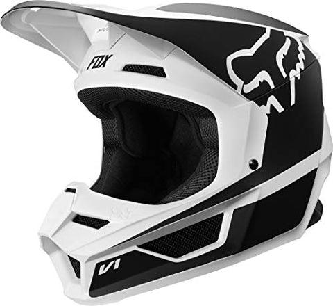 2019 Fox Racing V1 Przm Off-Road Motorcycle Helmet - Black/White / Large
