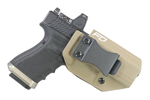 Fierce Defender IWB Kydex Holster Compatible with Glock 19 23 32 w/Optic Cut Winter Warrior Series -Made in USA- (FDE