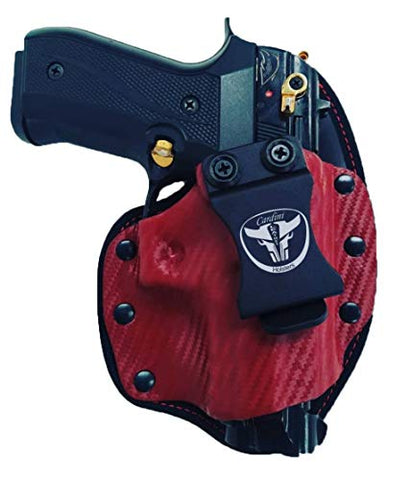 Cardini Leather USA – Cáscara Series Hybrid Holsters – Right Handed – Red Kydex Carbon Front with Red Mesh Padding Back – for Glocks 17, 19, 23 – Concealed Carry IWB with Clip