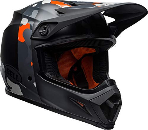 Bell MX-9 MIPS Off-Road Motorcycle Helmet (Presence Matte/Gloss Black Flo Orange Camo, Large)