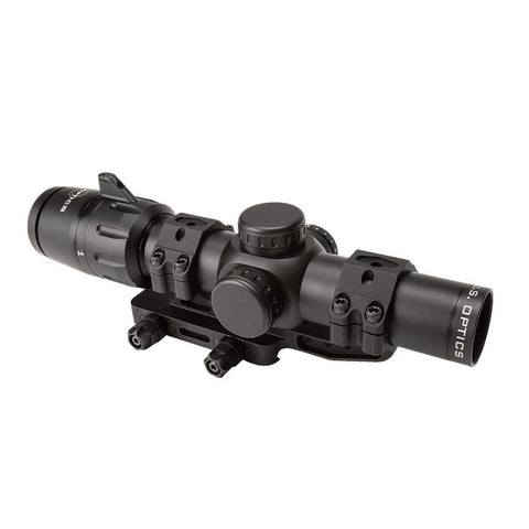 US Optics 1-6x24mm SFP 2 MOA Red Dot MIL-Scale 2/10 MIL Elev and Win Zeroing Knobs Reticle Riflescope with Zero Delta DLOC-M4 34mm Scope Mount Included