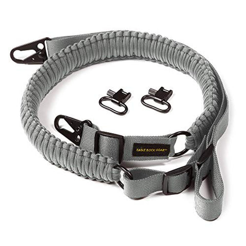 Eagle Rock Gear 550 Paracord 2 Point Gun Sling for Rifles, Shotguns, Crossbows, Airsoft - with Easy Adjustable Strap, HK Clips, Swivels (Gray)