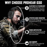 PROHEAR 030 Electronic Shooting Ear Protection Earmuffs with Bluetooth, Noise Reduction Sound Amplification Hearing Protector for Gun Range, Hunting, Gifts for Women and Man - Black