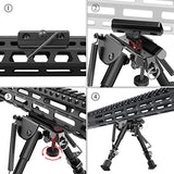 XAegis 2 in 1 Bipod 6 Inch to 9 Inch Adjustable Rifle Bipod with MLOK Rail Mount Adapter Included (Black Bipod with Mlok Adapter)