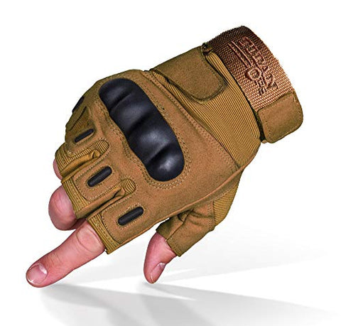 TitanOPS Fingerless Hard Knuckle Motorcycle Military Tactical Combat Training Army Shooting Outdoor Gloves (Tan, M)