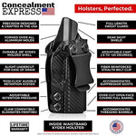 Concealment Express IWB KYDEX Holster fits Glock 17/19/19X/22/23/26/27/31/32/33/45 (G1-5) | Right | Black
