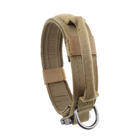 "Yunlep Adjustable Tactical K9 Dog Collar Heavy Duty Metal Buckle with Control Handle for Dog Training,1.5"" Width (M, Coyote Brown)"