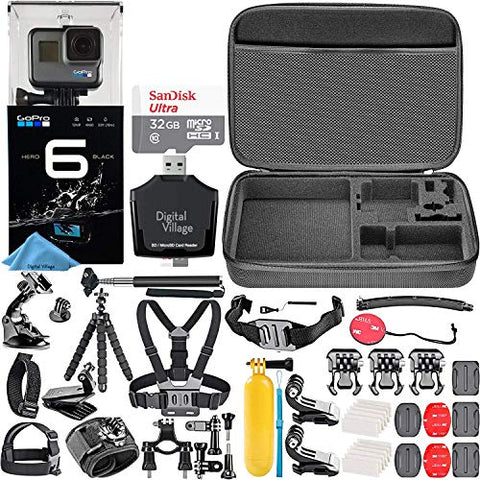 GoPro HERO6 Black + SanDisk Ultra 32GB Memory Card + Hard Fitted Case + Card Reader + Chest Mount + Head Mount + Flexible Tripod + Hero 6 Best Value Bundle