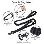 Lukovee Tactical Dog Collar and Leash Set, Adjustable Military Training Nylon Collar and Heavy Duty Bungee Lead with Soft Cover Control Handles Quick Release Buckle for Dogs Daily Walks (Leash+Collar)