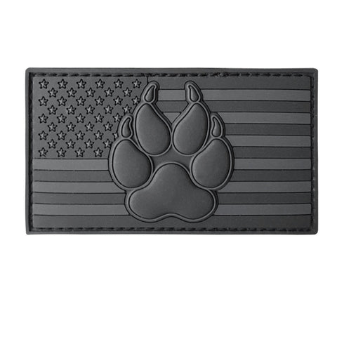 LEGEEON All Black USA American Flag K-9 Paw Dog Handler ACU Dark Subdued Morale PVC Rubber Hook&Loop