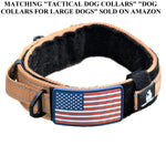 "TACTICAL BUNGEE K9 DOG LEASH - 1.5"" INCH WIDE DOG LEASHES FOR XL DOGS HEAVY DUTY NYLON ELASTIC STRETCH SHOCK ABSORBING MILITARY DOGS TRAINING LEASHES WITH REMOVABLE AMERICAN FLAG PATCH (TAN, SOLID)"