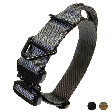 Miles Tactical K9 Cobra Buckle Dog Collar for Large Dogs Heavy Duty (Large with Handle, Wolf Gray)