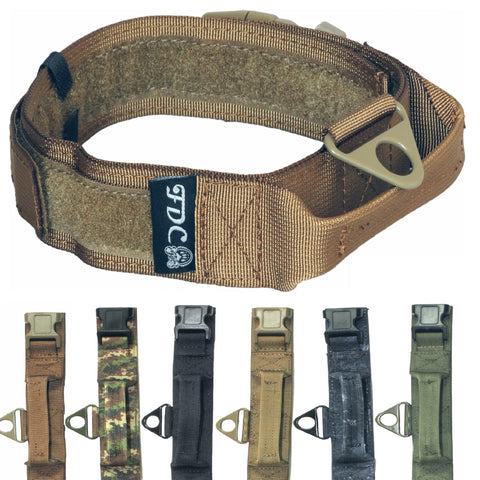 "HEAVY DUTY Military Army Tactical K9 Dog Collars Handle HOOK & LOOP Width 1.5in Plastic Buckle Medium Large (L: Neck 12"" - 14"", MILITARY BROWN)"