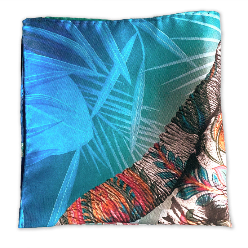 Silk Pocket Square by Elaine Emery - Limited Edition Elephant Design