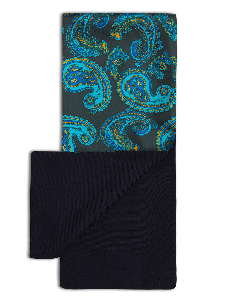 100% silk top and folded back to reveal black, 100% wool bottom of the luxurious patterned scarf from Soho Scarves.