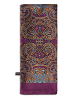 'The Bakersfield' purple, wool-backed scarf arranged in a rectangular shape, clearly showing the large, paisley-inspired patterns in light and dark brown and powder blue accents, with the 'Soho Scarves' label on the left edge.