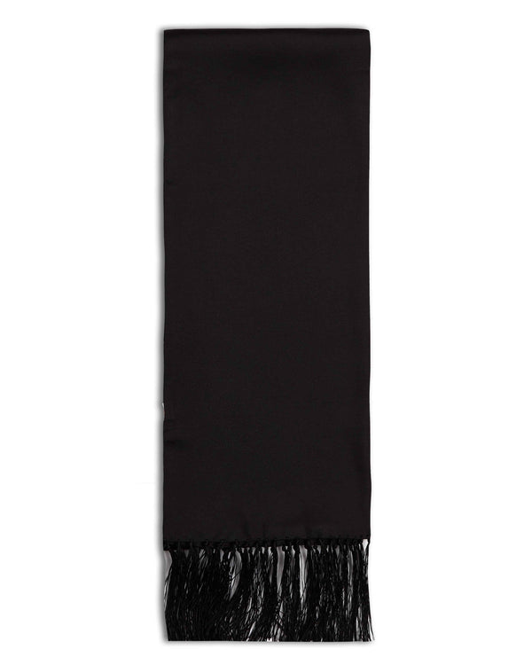 'The Air Black Aviator' black silk scarf arranged in a rectangular shape, clearly showing the 3 inch fringe and the 'Soho Scarves' label on the left edge.