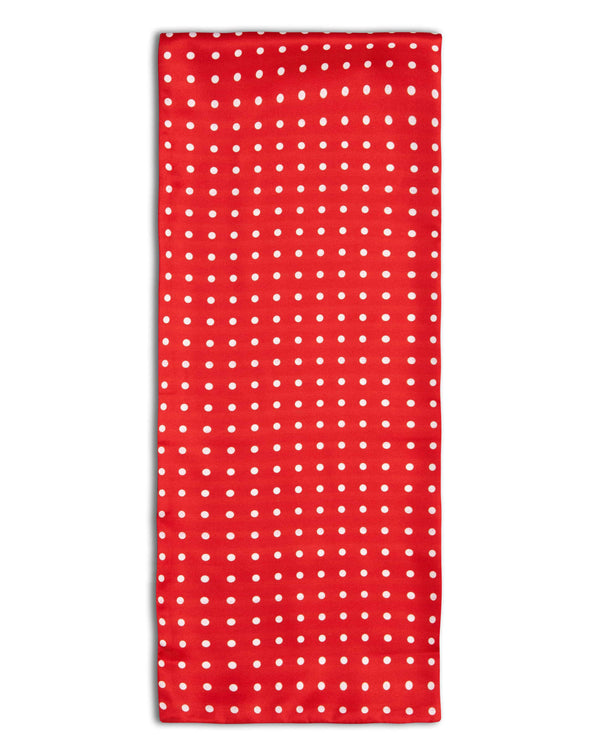 'The Dickson' polka-dot polyester scarf arranged in a rectangular shape, clearly showing the red coloured fabric with white dots and the 'Soho Scarves' label on the left edge.