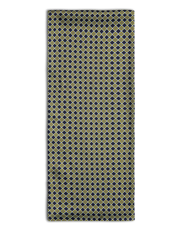 'The Pigalle' geometric black polyester scarf arranged in a rectangular shape, clearly showing the geometric diamond/square patterns and the 'Soho Scarves' label on the left edge.
