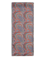 'The Winnett' paisley polyester scarf arranged in a rectangular shape, clearly showing the patterned red coloured fabric and the 'Soho Scarves' label on the left edge.