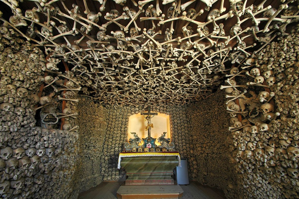 tamed winds t-shirt shop and blog, interior of the chapel of skulls in czermna poland