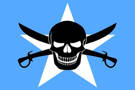 tamed winds t-shirt shop and blog, somalian pirate flag combined with black pirate image of jolly roger with cutlasses