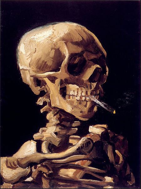 tamed winds t-shirt shop and blog, skull with a burning cigarette vincent van gogh year 1885