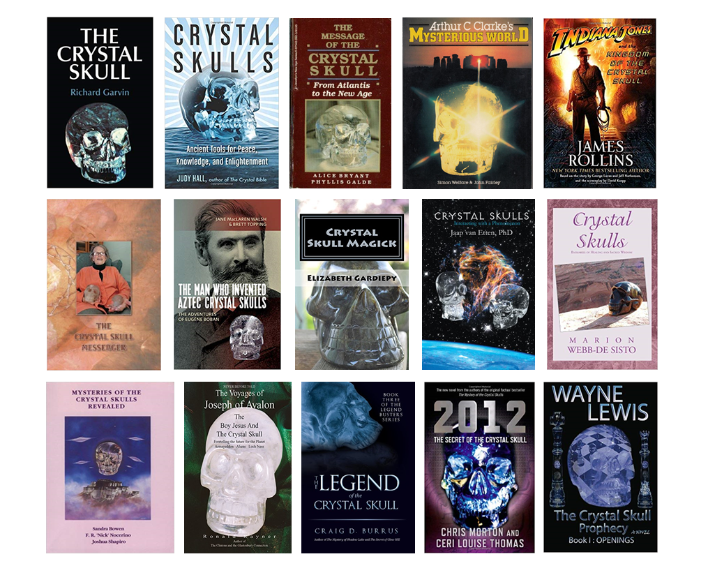 tamed winds t-shirt shop and blog, mosaic picture of book covers featuring crystal skulls