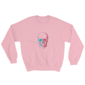 3D Skull Unisex Crewneck Sweatshirt, Collection Jolly Roger-Light Pink-S-Tamed Winds-tshirt-shop-and-sailing-blog-www-tamedwinds-com