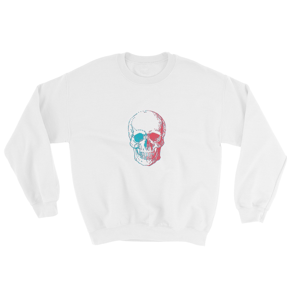 3D Skull Unisex Crewneck Sweatshirt, Collection Jolly Roger-White-S-Tamed Winds-tshirt-shop-and-sailing-blog-www-tamedwinds-com