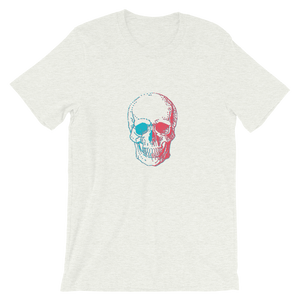 3D Skull Unisex T-Shirt, Collection Jolly Roger-Ash-S-Tamed Winds-tshirt-shop-and-sailing-blog-www-tamedwinds-com
