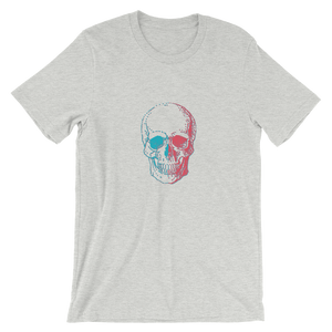3D Skull Unisex T-Shirt, Collection Jolly Roger-Athletic Heather-S-Tamed Winds-tshirt-shop-and-sailing-blog-www-tamedwinds-com