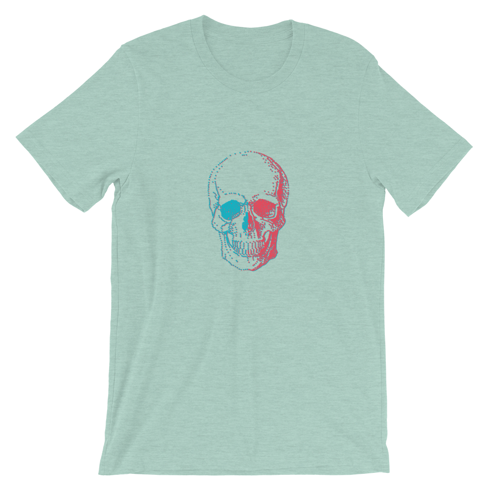 3D Skull Unisex T-Shirt, Collection Jolly Roger-Heather Prism Dusty Blue-S-Tamed Winds-tshirt-shop-and-sailing-blog-www-tamedwinds-com