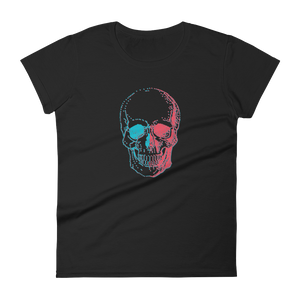 3D Skull Women's Round Neck T-Shirt, Collection Jolly Roger-Black-S-Tamed Winds-tshirt-shop-and-sailing-blog-www-tamedwinds-com