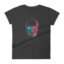 3D Skull Women's Round Neck T-Shirt, Collection Jolly Roger-Heather Dark Grey-S-Tamed Winds-tshirt-shop-and-sailing-blog-www-tamedwinds-com