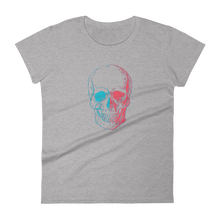 3D Skull Women's Round Neck T-Shirt, Collection Jolly Roger-Heather Grey-S-Tamed Winds-tshirt-shop-and-sailing-blog-www-tamedwinds-com