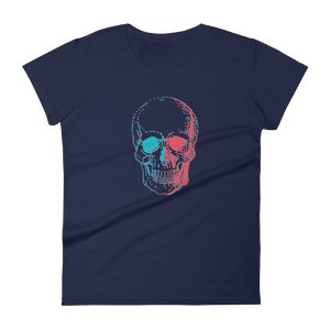 3D Skull Women's Round Neck T-Shirt, Collection Jolly Roger-Navy-S-Tamed Winds-tshirt-shop-and-sailing-blog-www-tamedwinds-com