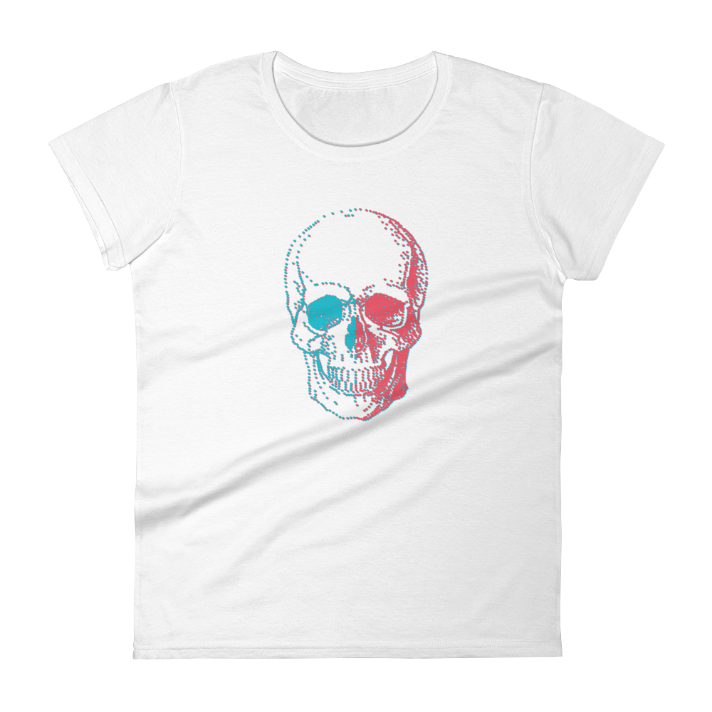 3D Skull Women's Round Neck T-Shirt, Collection Jolly Roger-White-S-Tamed Winds-tshirt-shop-and-sailing-blog-www-tamedwinds-com