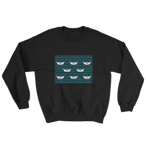 8 Paper Boats Unisex Crewneck Sweatshirt, Collection Origami Boat-Black-S-Tamed Winds-tshirt-shop-and-sailing-blog-www-tamedwinds-com