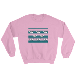 8 Paper Boats Unisex Crewneck Sweatshirt, Collection Origami Boat-Light Pink-S-Tamed Winds-tshirt-shop-and-sailing-blog-www-tamedwinds-com